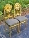 PAIR of FINE Louis XVI style gilt chairs