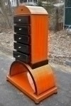 SUPERB TALL WALNUT ART DECO CHEST OF DRAWERS