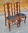 GLORIOUS pair solid mahogany Chippendale Style chairs