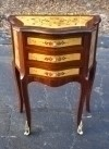 Flamboyant marquetry side table commode Louis style