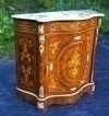 Ornate and inlaid Marble top commode Louis XV style