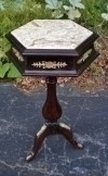 Dark walnut LOUIS XV Style MARBLE top side table