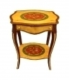 Superb inlaid vibrant colors side table Louis XV style