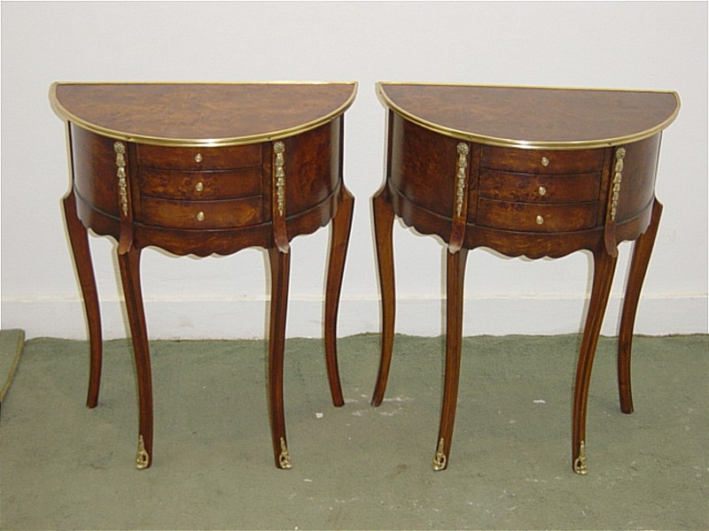 Magnificent PAIR walnut Louis XV style side tables