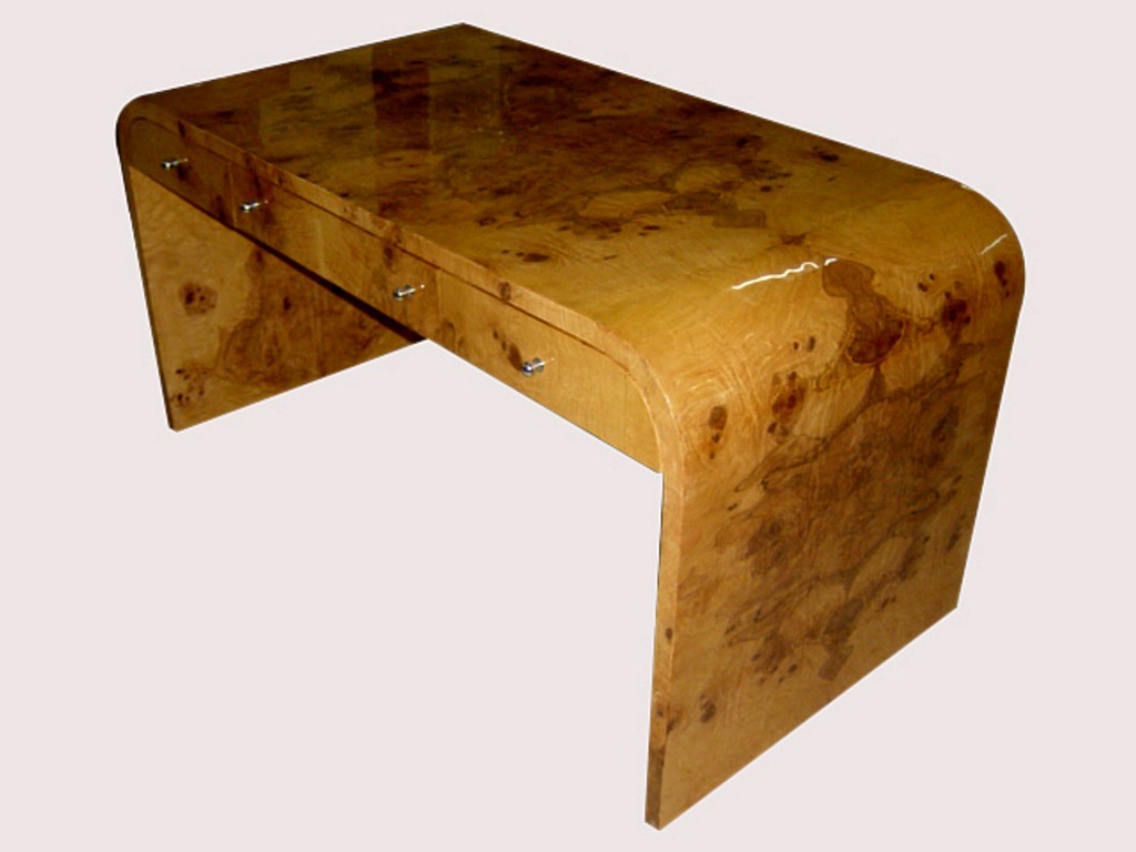 KILLER MASTERPIECE Art Deco Style Burl olive desk.