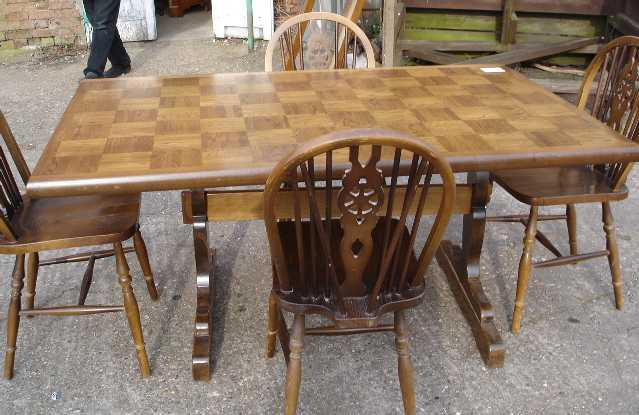 QUALITY English OAK Dining Set Table+4 Chairs